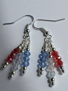 Independance day earrings, patriotic earrings, 4th of July earrings, red white and blue earrings, cluster earrings, crystal earrings by FPCreations21 on Etsy