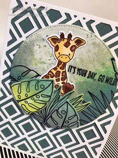 #wplus9 #tropicfever #oxideinks #partyanimal #trellisdie #trellisbackground #giraffe #tropical #gowild #birthday