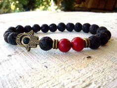 Men bracelet Hamsa bracelet Red Coral bracelet Bronze by SoCutiful, $14.99