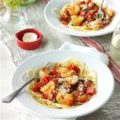 Shrimp Pomodoro Recipe -My husband and I have hectic schedules, so I'm always looking for fast meals that have special-occasion appeal. Shrimp with garlic, tomatoes and pasta is a winner. —Catherine Jensen, Blytheville, Arkansas