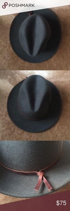 Yellow 108 Fedora Dark hunter green fedora. Wool with leather trim. Made in USA. Great condition. Size medium. Pet free smoke free home. yellow 108 Accessories Hats