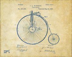 1881 Velocipede Bicycle Patent Artwork - Vintage Drawing by Nikki Marie Smith
