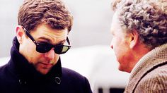 Peter Bishop (Joshua Jackson) and his father Dr. Walter Bishop (John Noble) from the TV show Fringe.