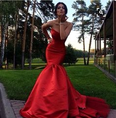 Red prom dress,sweetheart mermaid wedding dress,formal dresses