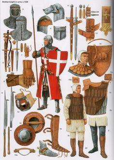 Christa Hook - Equipo y armas de caballero hospitalario, c 1330