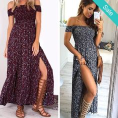 Side Split Off the shoulders maxi dress - Side Split Off the shoulders maxi dress. Beautiful color print for feminine bohemian style. Material: Cotton/Poly Blend - On Sale for $29.00 (was $34.00)