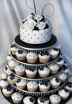 torta principal con torre de cupcakes ,para 40 personas..!!
