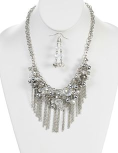 Chains and Beads Statement Necklace | $5.50 | Trendy Cheap | Necklaces | Silver | MODdeals.com