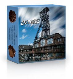 Plněné čokoládové pralinky v dárkové krabičce s motivem Ostravy. Rave, Raves