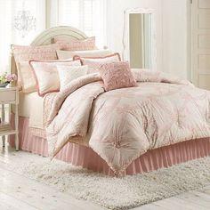 NEW LC Lauren Conrad Soiree 3 Piece COMFORTER SET 100% Cotton PINK #LCLAURENCONRAD #feminine