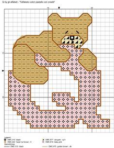alfabeto colori pastello con orsetti Q
