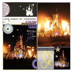 castle on fire - some of my faves from the fireworks at disney in paris  - by Sahlin Studio and Britt-ish Designs Project Mouse (at Night): Cards and Elements; Project Mouse (Tomorrow): Cards; Photo Overlays; Elements; Word Snips