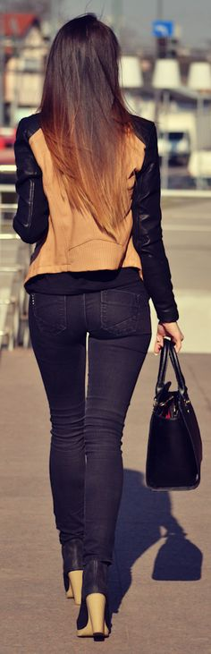 Sheinside Khaki Contrast Zipper Jacket by Furious Squirrel