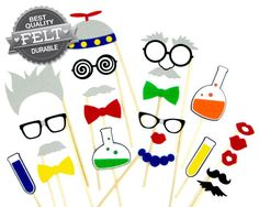 Scientist Photo Booth Props for your Science Party!  Made of durable, stiffened felt to last throughout your entire event.  Each prop comes attached to a smooth, sturdy wooden dowel rod.