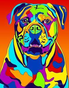 Rainbow American Bulldog Dog Breed Matted Prints & Canvas Giclées