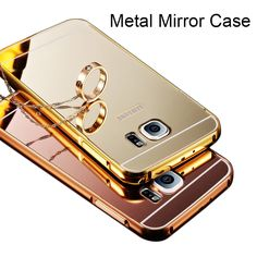 S6 S7 Case Gold Plated Aluminum Metal Frame+Mirror Acrylic Back Case For Samsung Galaxy S6/S6 edge S7 S7Edge Note5 Note4 S5 Hard
