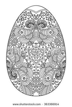 Zentangle black and white decorative Easter egg. Easter Egg Coloring Pages, Coloring Book Pages, Coloring Sheets, Easter Colors, Egg Art, Egg Decorating, Colorful Pictures, Beautiful Pictures, Printable Coloring