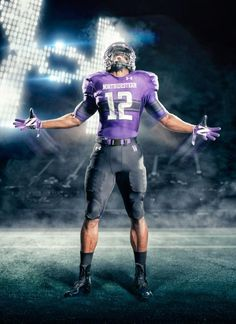 Northwestern football uniforms (purple) – Sport is lifre College Football Uniforms, Sports Uniforms, Football Jerseys, Football Helmets, Football Ads, Basketball, Northwestern University, Nfl Logo, Football Pictures