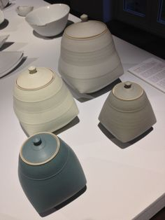 Sun Kim stoneware lidded jars, on sale in Contemporary Applied Arts (www.caa.org.uk/) Southwark