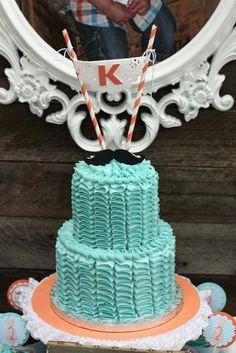 Terrific ruffle cake #rufflecake #mustache #birthday