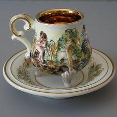 Capodimonte Demitasse Cups & Saucers w. Cherubs
