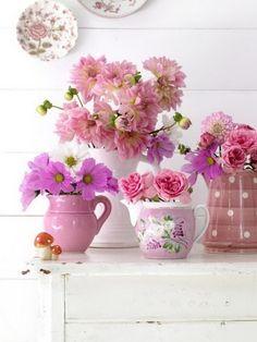 Pink Beauties - pink flowers and pink vintage jugs