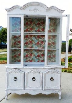 upcycled painted hutch by booth 121., love  the background