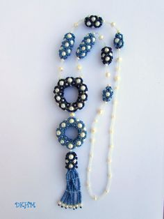 Beaded beads  blue and white necklace with freshwater by DKHM