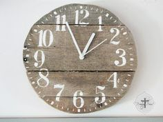 DIY: Clock Made From Pallet Wood Tutorial - excellent DIY, plus a link to download the free graphics from The Graphics Fairy. Prodigal Pieces Clock!