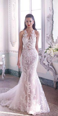 Glamorous Deep V Neckline Floral Wedding Dress; V Neck Wedding Dress Sexy Wedding Dresses, Gorgeous Wedding Dress, Bridal Dresses, Beautiful Dresses, Wedding Gowns, Vestidos Vintage, Mermaid Dresses, The Dress, Floral Wedding