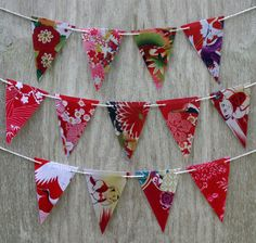 Kimono bunting flags by Lucy Patterson on Etsy