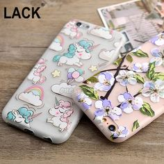 Rainbow Unicorn Animal Dos Desenhos Animados caso bonito para o Caso do iphone 6 Para Casos de Telefone do iphone 6 S 6 Mais bela flor Funda Cobertura Coque