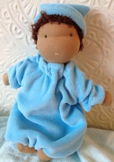 Steiner-Waldorf Tiny Baby Doll: organic cotton, wool with hat, nappy and bunting