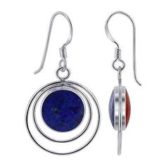 Silver Round Double Sided Blue Lapis and Coral Earrings | Gem Avenue