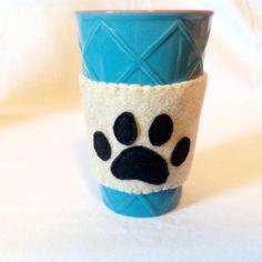 Felt Mug Cozy//Dog Paw Felt Coffee Mug Cozy//Cat Paw//Recycled Felt//Coffee Sleeve