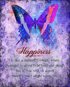 HAPPINESS IS inspirational butterfly art by TheVictorianGarden, $10.00