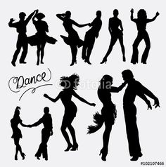 Vector tango salsa 4 couple happy dance event silhouette good use