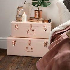 Beautify Set of 2 Blush Pink Rose Gold Vintage Steel Box Chest Storage Trunks