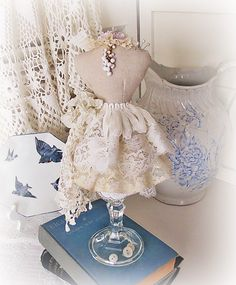 A Creamy Linen Mannequin Pin Cushion With Layered Vintage Laces Is New At The Ruffled Rose Vintage Lace, Unique Vintage, Vintage Dresses, Shabby Chic Mannequin, Lilac Blossom, Diy Cushion, Pincushions, White Beads, French Lace