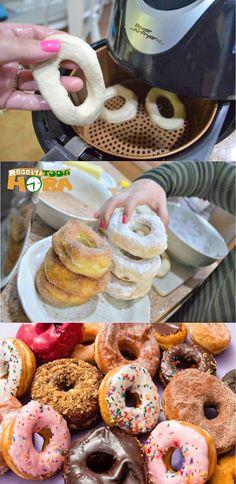#DONUTSAMERICANOSNAAIRFRYER #DONUTSAMERICANOS #DONUTS #Receitatodahora Gelato, Good Food, Yummy Food, Chocolate, Air Fryer Recipes, Cooking Time, Food Network Recipes, Doughnut, Nutella