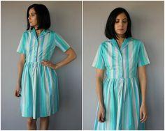 Vintage 50er Jahre Shirtwaist Kleid  1950er von CustardHeartVintage