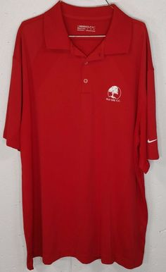Nike Golf Fit Dry OLD OAK CC Mens Red 100% Polyester Short Sleeve Polo Shirt XL #Nike #PoloRugby