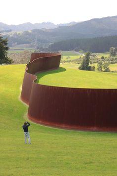 """Richard Serra's """"Te Tuhirangi Contour"""" at the Gibbs Farm Sculpture Park."""