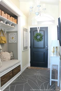 Love the cubby! Click thru to see other spaces... love their decorating style:) Our Home Tour - Front Porch and Entryway