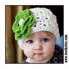Twisted BOUQUET Beanie Cream Beanie Skull Hat Crochet with 7 Interchangable flowers- Upick Size- 5 SIZES... Great Photo Prop. $23.00, via Etsy.