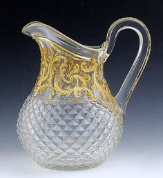 1800s Moser Cut Glass Enameled & Gilded Pitcher
