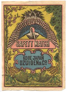 Safety Match, Dzuigen & Co. Vintage Packaging, Vintage Labels, Vintage Ephemera, Art And Illustration, Posters Vintage, Retro Poster, Japanese Prints, Japanese Art, Matchbox Art