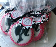 Barbie Silhouette and Number decorated cookies by peapodscookies