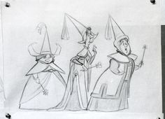 Sleeping Beauty, Fauna, Flora and Merryweather early concept drawing