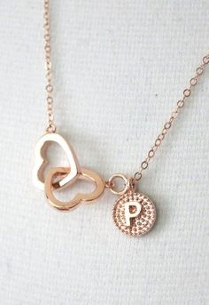Personalized Rose Gold Double Heart Infinity